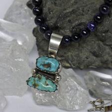 Unisex Echtschmuck-Halsketten & -Anhänger aus Sterlingsilber mit Türkis-Perlen