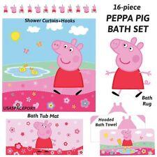 16pc PEPPA PIG BATHROOM SET Shower Curtain+Hooks+Rug +Tub Mat +Hooded Bath Towel