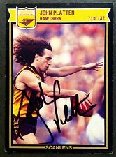 1987 SCANLENS VFL CARD PERSONALLY SIGNED BY JOHN PLATTEN HAWTHORN