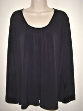 New Apostrophe Women's Plus Size 20W / 22W  Embellished Top Tunic Black Sequins