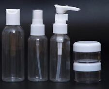 100 Ml 5pc Piece Holiday Travel Bath Toiletry Set Clear Bottle Airport Flight