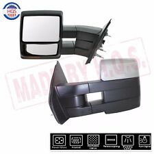 For 07-14 Ford F150 Chrome Towing Mirrors Power Heated Turn Signal Light Pair