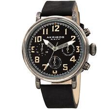 Men's Akribos XXIV AK1028BK Quartz Chronograph Black Antique Leather Strap Watch