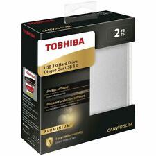 "2TB Toshiba Canvio Slim Portable External Hard Drive 2.5"" USB 3.0 HDD Silver NEW"