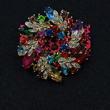 Crystal Charm Brooch Pin Gift Betsey Johnson Rhinestone Colorful Garland Flower
