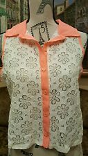 Cantata white with neon orange collar Blouse, s.large