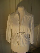 Mexx white linen shirt 8 with front tie & three quarter sleeves very good con