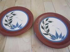 Happy Things Pottery Two Salad Plates Leaves Floral Brown Blue Green 10 3/4""