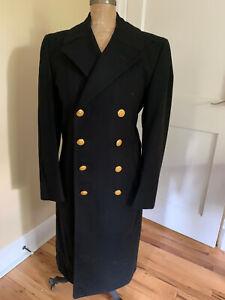 US NAVY Officer Bridge Coat Vintage 1960s Wool 37R Overcoat Peacoat Vietnam Era