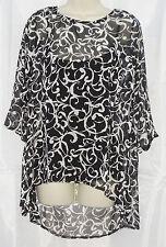 Neuf Noir Blanc Imprimé Mousseline Tunique & Cami Vest 12 UK un Ourlet Arrière Plus Long Lagenlook