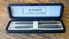 Vintage NOS Parker Rollerball Pen Pencil Set in Factory Case, Matte Gray REDUCED