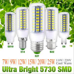 110V 220V E27 GU10 E12 G9 E14 B22 Bright 5730 SMD LED Bulb Light Corn Lamp 10pcs