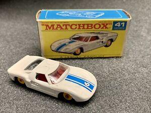 1969 Matchbox Lesney 41 Ford GT VERY NEAR MINT w/ Original F1 Box