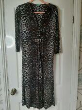 Onjenu London Amy Leopard Print Dress. Leo Chocolate. Size 16.  RRP £99.98.