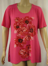 beme Pink Floral Bead Stretch Short Sleeve Tunic Top Plus Size S 16/18 J39