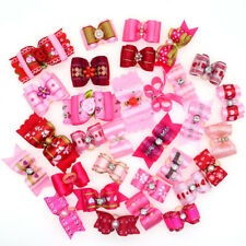 20X Rose Pink Red Pet Dog chihuahua Hair Bows for Girls Female Dog Grooming Bows