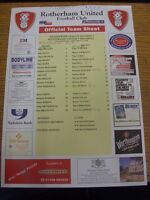 01/04/2002 Colour Teamsheet: Rotherham United v Millwall (folded, match notes).