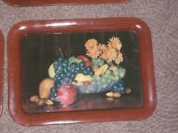 "Vintage 7 metal TV Lap Trays Mid - Century Decorated w/ Fruit ""Still Life"""