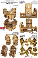 RED-28F-BUN - 28mm Wargames - Fantasy Buildings x 10 (for Mordheim / Frostgrave)