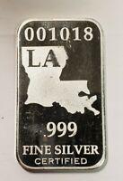 Louisiana US State 1oz. 999 Fine Silver Bar - Limited Edition