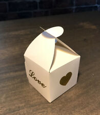 LOVE Favour Boxes x 20 Baby Shower/Wedding White Gold Heart