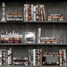 Holden Grey Book Shelf Wallpaper Bookcase Vintage Black White Shelves Wood