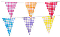 100 Flags 50 Metre Bunting Gingham Birthday PartyPennant Vintage Mix Colour