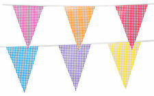 Bunting Gingham Print Birthday Party 20 Pennant Vintage Mix Colour Flags 33ft