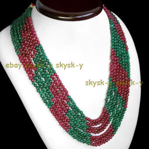 6 ROWS 4MM NATURAL RED RUBY & GREEN EMERALD ROUND BEADS NECKLACE 17-22''