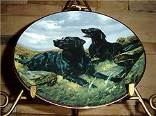 Franklin Mint Ready To Go Black Labrador Lab Dog Plate