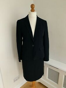 JIGSAW Black Wool Blend Fitted Pencil Skirt Smart Suit UK 12