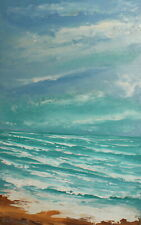 Vintage impressionist seascape oil painting signed