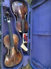 Double Violin Case 2 Very Old Violins Antique  Violins Full Size.
