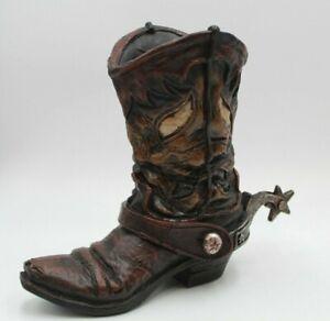 Cowboy Boot Home Decor Rustic Farmhouse Vase Collectible Spur Vase Western