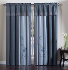 Chezmoi Collection 4-Piece Floral Embroidery Window Curtain Set, Blue/Gray