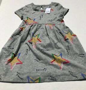 NWT baby GAP girl's grey Girl Power/Star Dress w/bloomers sz 2 yrs