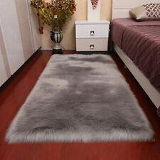 Faux Sheepskin Faux Fur Wool Rug Gray Carpet Shaggy Fluffy Soft Mat Pad 60x120cm