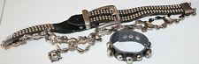 3PC.GOTHIC,PUNK,MOTO  BLACK,SILVER METAL SKULLS& BONES LINK BELT,BRACELET,RING