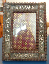 ANTIQUE ART NOUVEAU EXOTIC WOOD AND SILVER PORTUGUESE PICTURE FRAME III
