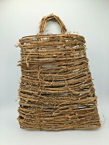 "Wall Hanging Pocket Grapevine Basket w/ Handle 9.5"" x 8"", & 9"" deep pocket."
