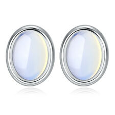 925 Sterling Silver Oval Moonstone Stud Earrings Women Fashion Jewelry