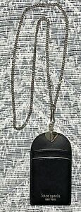 NEW Kate Spade Spencer Lanyard Leather Gold Chain Necklace Black
