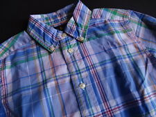 POLO RALPH LAUREN BLU A Quadretti Button Down Camicia Tg. 5/110 -116