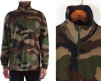 Vintage Men's 1/4 Zip Khaki Green Camo Fleece Y2K Khaki Camouflage Jumper - L XL