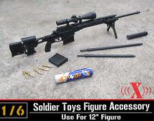 "1:6 US Army MSR Modular Plastic Sniper Rifle Black USMC Fit 12"" Male Figure Toys"