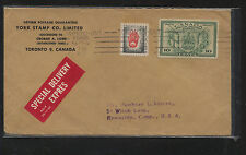 Canada  E10 special delivery cover from York Stamp Co to US    AT0607