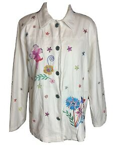 Quakers Factory Ladies Ivory Embroidered Cotton Jacket / Shirt  Size L (A2)