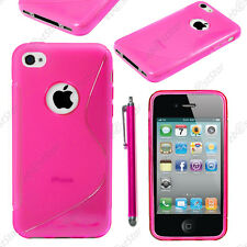 Housse Etui Coque Silicone Motif S-line Rose Apple iPhone 4S 4 + Stylet