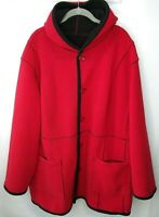 Susan Graver Reversible Bonded Fleece Hooded Jacket Coat Black Red 3X A81865