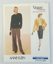 Vogue American Designer 2355 Anne Klein Misses Jacket Skirt Pants Pattern Uncut